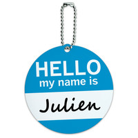 Julien Hello My Name Is Round ID Card Luggage Tag