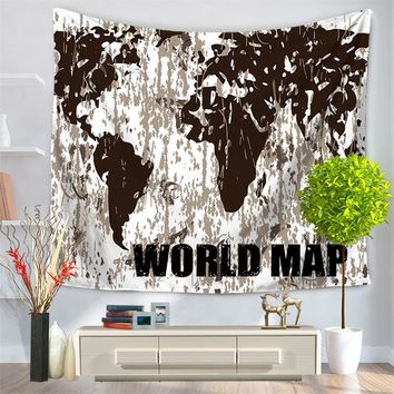 Polyester printed world map wall tapestry wall hangings for kids children rooms living room bedroom home textile decoration