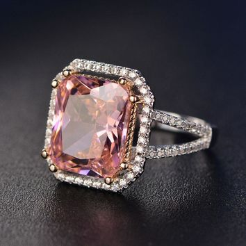S925 Rings For Women Sterling Silver Pink Big Square Topaz Diamant Fine Jewelry Bridal Wedding Engagement Ring Luxury Bijoux
