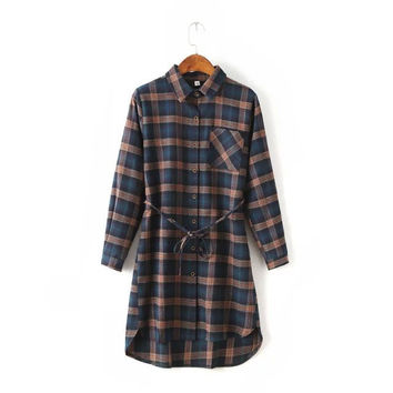 Summer Women's Fashion England Style Stylish Plaid Slim Blouse Dress One Piece Dress [6045435137]