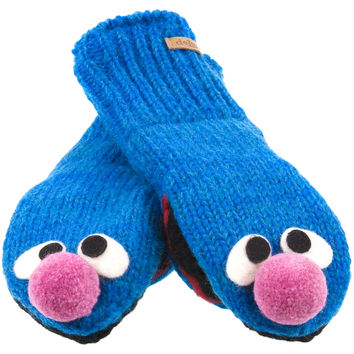 Sesame Street - Grover Head Kids Knit Mittens