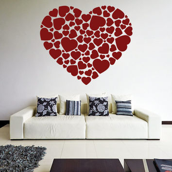 vinyl wall decal hearts in a heart shape from