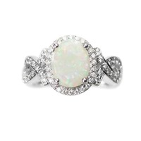 14k White Gold Genuine Australian Opal and Diamond Halo Twist Ring
