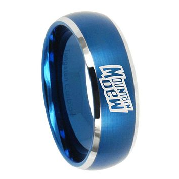 8MM Brush Blue Dome Mountain Dew Tungsten Carbide 2 Tone Laser Engraved Ring