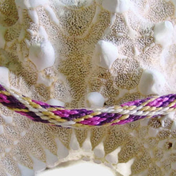 Yellow and purple diamond pattern friendship kumihimo bracelet with or without purchased magnetic clasp-- your choice