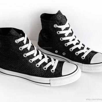 Black glitter Converse All Stars, black high tops, geometric pattern, vintage sneakers