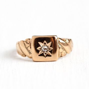 Antique Star Ring - Edwardian 14k Rosy Yellow Gold Diamond Ring - Size 3 3/4 Vintage Early 1900s Repousse Incised Star Band Fine Jewelry