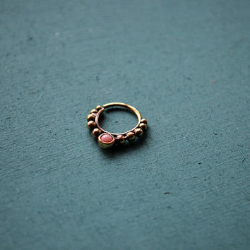 Tribal septum ring with pink agate for pierced nose / 18g / Ethnic septum / Septum jewelry / Nose jewelry / Tribal body jewelry