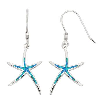 Sterling Silver, Gold Tone or Rose Tone Created Blue, White or Pink Opal Starfish Dangling Earrings