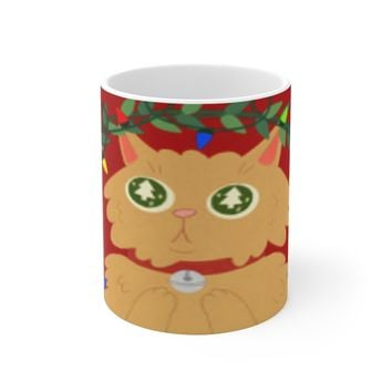 Ceramic Christmas Mug For Cat Mom & Dad - Entangled With Lights Kitty Cup Holiday Gift For Kitten Lovers