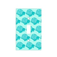 Teal Turtles Pattern Aqua Light Switch Cover