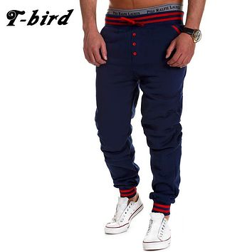 T-Bird New Fashion 2017 Joggers Men Brand Single-Breasted Sweatpants Male Compression Pants Casual Tactical Pants Mens Calabasas