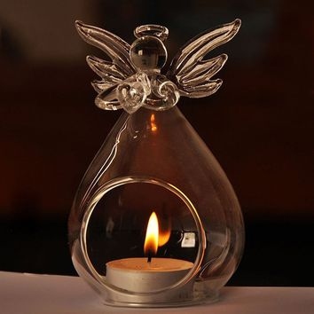 New Crystal Angel Glass Hanging Candle Holder Fashion Candlestick Home Wedding Decor