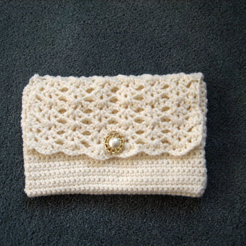 Crocheted Clutch Purse Off White by bb2213 on Etsy