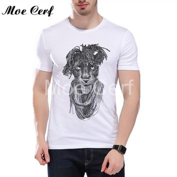 Heavy metal rock and roll bob lion Print T shirt 2018 New Arrival Animal portrait design Men Tops Hipster Cool Tees L11-188