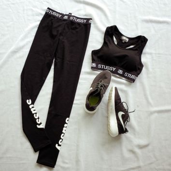 """Stussy""Printed letters show hilum sport suit - fitness yoga running vest pants"