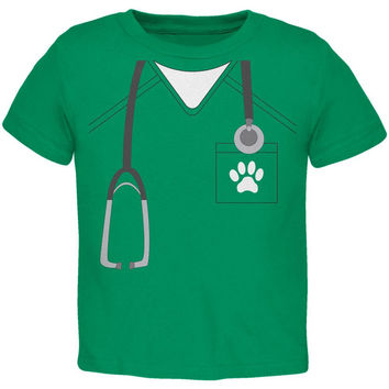 Halloween Vet Veterinarian Scrubs Costume Kelly Green Toddler T-Shirt