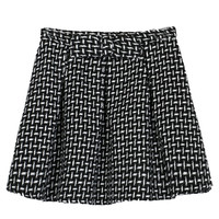 Black Plaid Middle Waist Pleated A-Line Mini Skirt
