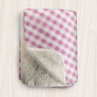 Pink Gingham Sherpa Fleece Blanket - White Pink Gingham Pattern - 2 sizes available - Made to Order