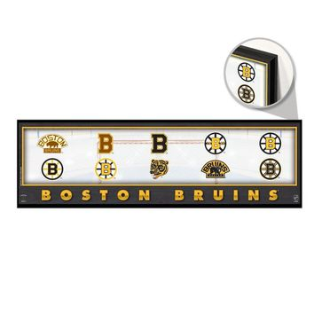 "BOSTON BRUINS THROUGHOUT THE YEARS LOGO VINTAGE WOOD SIGN 9""x30"" WINCRAFT"