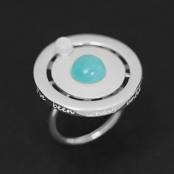 INATURE 925 Sterling Silver Natural Blue Stone Planet Shaped Ring for Women Engagement Jewelry Gift