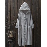 Vintage Chinese Button Womens Long Sleeve Dress Casual Loose Cotton Linen Dresses Pockets Solid Hooded Shirt Robe Vestidos Mujer