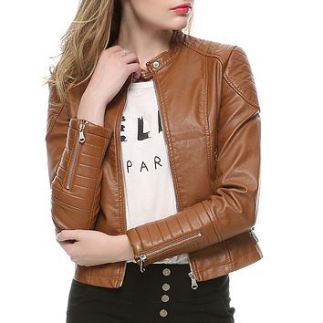 Fashion Women Elegant Zipper Faux Leather Biker Jacket in Brown Black Slim Ladies Coat Casual Motorcycle Leather Coat