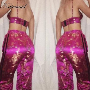 women Two Piece Set Sexy Women Jumpsuits Rompers Floral Print Spaghetti Strap v neck Slim