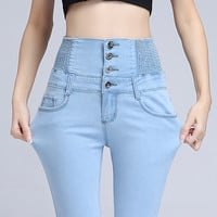 New Fashion Jeans Womens Slim High Waist Elastic Skinny Denim Long Pencil Pants Woman Jeans Camisa Feminina Color Blue