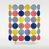 Round and Round Shower Curtain by Miss L In Art