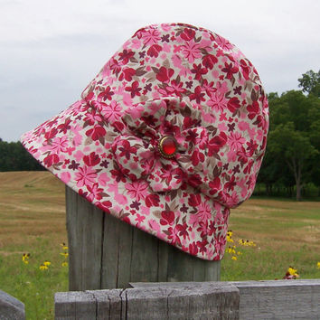 Chemo Hat Cloche Style Cotton Print in Pink and Beige for Women, satin lined fabric flower accent donation made to Cancer Society