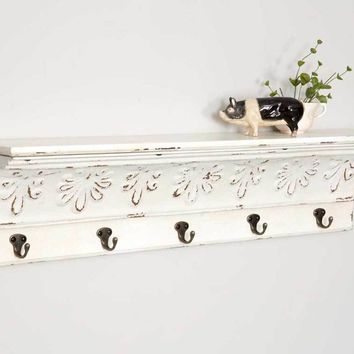 Bisque Shelf with Five Hooks