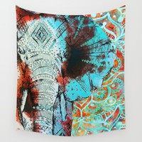 Indian Sketched Elephant Wall Tapestry by Inspired Images