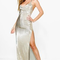Petite Amy Metallic Strappy Thigh Split Maxi Dress