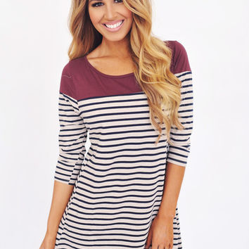 Maroon Top/Navy Striped Tunic