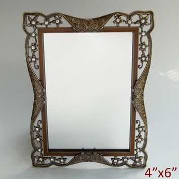 European Antique Brass with Clear Rhinestones Jeweled Hollow Metal Framed 4x6 inches Rectangle Table Mirror