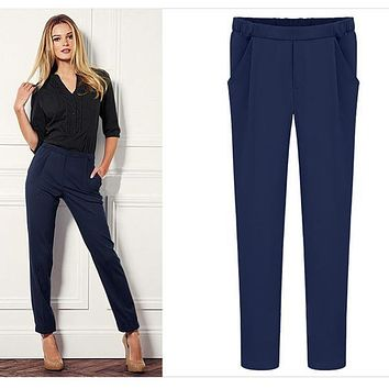 New Plus Size summer OL style straight trousers Women's Office Pants Fashion Sexy work wear Elastic Waist Rainbow Pants Trousers
