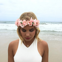 Bloom Around Floral Headband In Pink