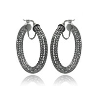 Sterling Silver Black Mesh Plated Hoop Earrings