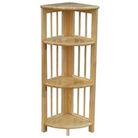 Folding 4 Tier Corner Shelf - Natural Space Saving College Dorm Room Accessory