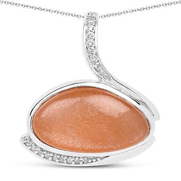 A Romantic Fancy Shape Bezel Set Natural Peach Moonstone Pendant Necklace