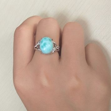 Big Stone Larimar Rings Woman Ladies Engagement Rings with Natural Larimar Gemstone, 925 Sterling Silver Jewelry Gift for Her