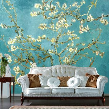 Custom 3D Mural Retro Oil Painting Flowers Photo Wallpaper Home Decor Living Room 3D Wall Paper Landscape Papel De Parede Flores