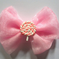 Candyfloss Pink Shimmer Organza Hair Bow Hairbow Glitter Lollipop Marshmallow Kawaii Fairy Kei Sweet Lolita Candy Floss Shiny Cute Kitsch