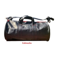 calimocho🍹black leather duffel bag with red accents