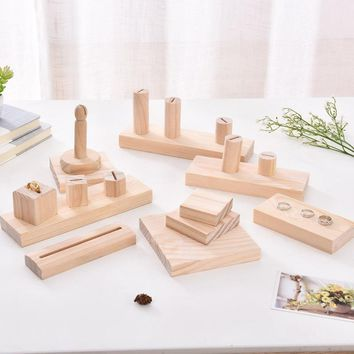 Solid Wood Jewelry Block Ring Display Holder  Jewellery Display Rack Necklace Pendant Bracelets Bangle Display Stand