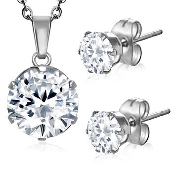 Stainless Steel Prong-Set Cubic Zirconia Round Circle Charm Chain Necklace & Stud Earrings Set