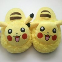 "Pokemon Pikachu 10"" Kids Anime Cosplay Soft Plush Slippers"