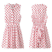 White Polka Dot Print Sleeveless Dress with Belt