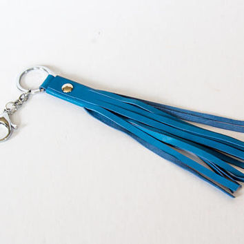 Luxury blue leather tassel / purse charm / key holder / keychain with luxury silver hook. Can be use on your keys or on your favorite bag.
